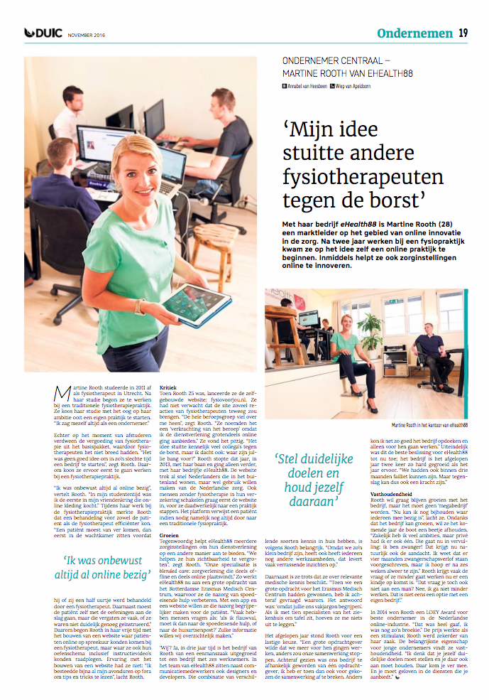 DUIC artikel interview Martine Rooth eHealth88